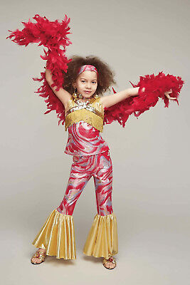 NWT $85 CHASING FIREFLIES GIRL 8 DISCO DARLING OUTFIT & RED FEATHER BOA COSTUME - Disco Girl Outfit