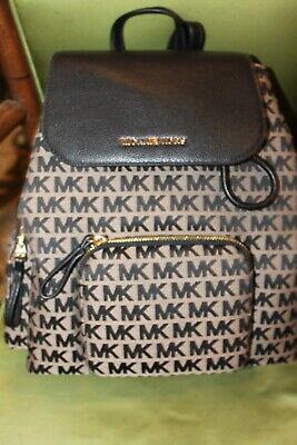 Michael Kors Abbey Large Cargo Jacquard Signature Backpack msrp $498