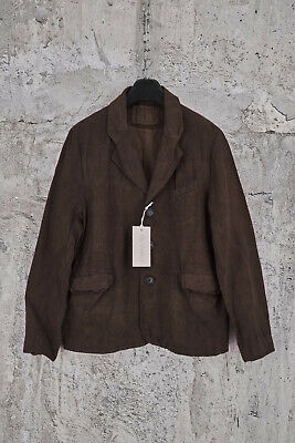 NWT BY WALID VINTAGE LINEN SINGLE BREASTED THREE BUTTON BROWN BLAZER L,1595$