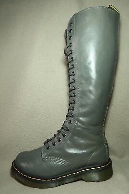 DR. MARTENS AIR WAIR 1B60 20 EYELET Womens Grey Leather Lace up Boots UK 5/EU 38