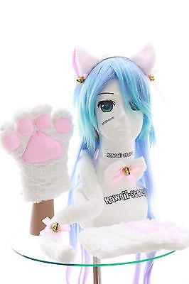 oten Handschuhe Schwanz Halsband Ohren Maid Lolita Cosplay (Weiße Katze Schwanz Halloween)