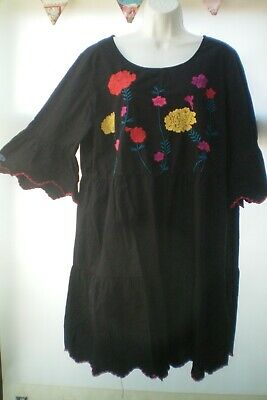 SIZE 18 BLACK  DRESS WITH EMBROIDERY BY JUNAROSE  VGC