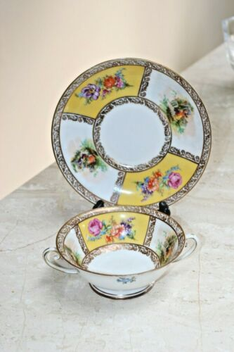 Schumann Bavaria Footed Cream Soup Bowl & Saucer Set Courting Couple & Flowers