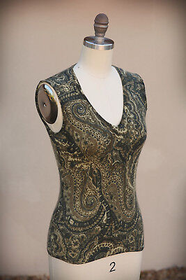 ANNE DARLENE TWEEDS Size S (Short) 100% Cashmere Extreme Paisley Floral Sweater