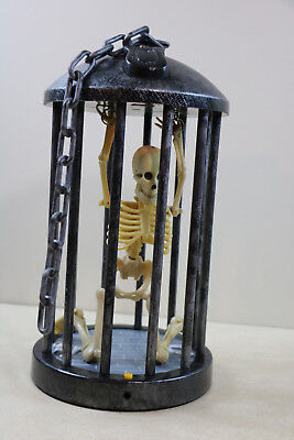 Gemmy Halloween Skeleton in Cage Lights & Sounds  No Motion For Parts / Repair (Skeleton Parts Halloween)