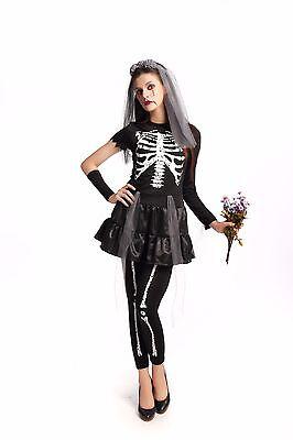 Mujer Novia Fantasma Negro Boda Disfraz Halloween Fiesta de Disfraces ladcos43