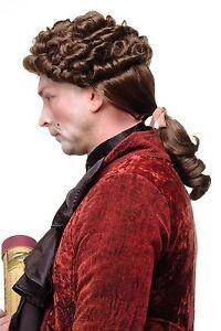 Perruque Renaissance Baroque Adel Edelmann Noble Boucles Braun Tresse GFW1617-10