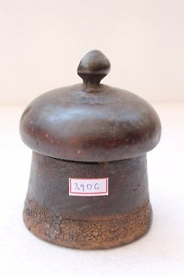 Vintage Hand Carved Lacquer Painted Wooden Kum Kum Powder Tikka Box NH3906