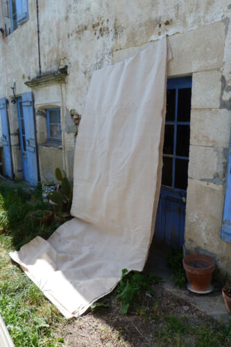 Vintage old French 1890/1900 organic homespun Hand woven linen by meters