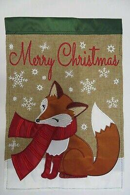 """Merry Christmas"" Winter Fox wears Scarf, Snow, Burlap, applique HOUSE flag"