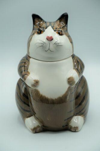 N.S. Gustin Brown & White Tabby Cat Cookie Jar Figural Ceramic Kitty