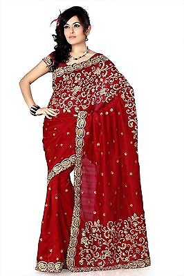 Indian Bollywood Designer Gorgeous Ethnic Bhagalpuri Silk Embroidery Saree Sari