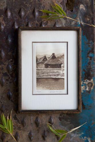 Rare Framed Vintage Signed Japanese Farm House Etching by Hiroto Norikane-6.5x9