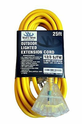 25ft Heavy Duty 12 Gauge Lighted 3 Outlet Extension Cord - 25 12 3 Outdoor Sjtw