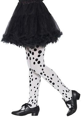Girls Black And White Dalmatian Spotty Fancy Dress Book Day Costume Tights 6-12