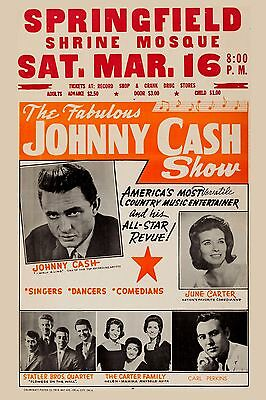 Country: Johnny Cash, June Carter & Carl Perkins Concert Poster 1967  12x18