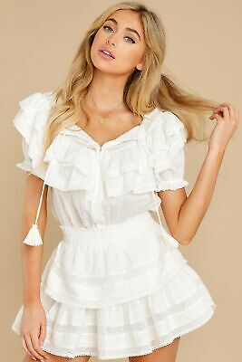New Loveshackfancy Liv Ruffle Mini Dress in Antique White Small