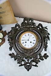French vtg Wall Cast iron clock louis XVI decor 1960's
