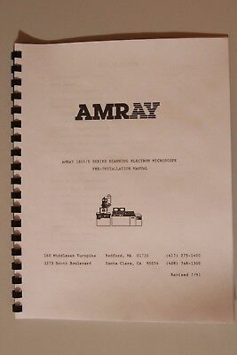 Amray 1800 Series Scanning Electron Microscope Sem Preinstallation Manual 1810