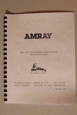 Amray 1800 Series Scanning Electron Microscope Sem Preinstallation Manual 1810