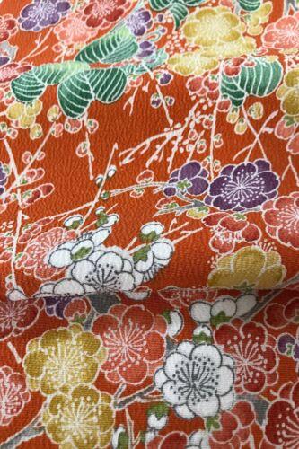 @@168 cm x 34 cm Japanese kimono silk fabric/ smooth crepe/ dark orange F68