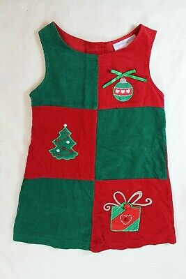 Chantilly Place Girls Jumper Dress Sz 6 Red Green Wale Corduroy Christmas