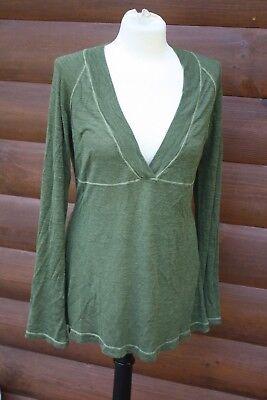Athleta M Green Deep V Neck Thin Knit Lightweight Sweater Top  ()