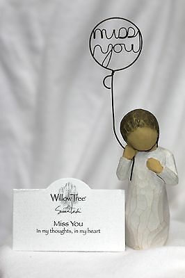 ANGEL balloon I we MISS YOU sign WILLOW TREE sentiment mini small greeting card - Miss You Balloons