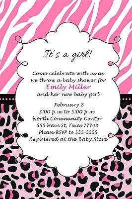 Leopard Baby Shower Invitation (30 Jungle Invitation Cards Baby Girl Shower Personalized Zebra Leopard Pink)