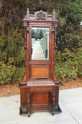 Fancy Burl Walnut Victorian Aesthetic Period Marble Top Hall Tree Stand ~Ca.1880