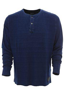 Baumwolle Langarm Henley Shirt (Kitaro T Shirt Longsleeve Henley Herren Langarm Dunkelblau Baumwolle Größe M)