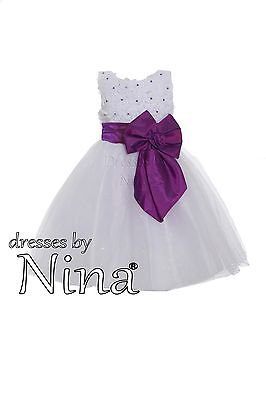 Flower girl / Party Frock / Bridesmaid dress / White and Purple Pearls 2 to 9yr