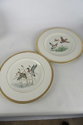 """Vintage Pickard Duck & Quail 10 1/2"""" Plate Set of 2 Gold Toned Plates VERY NICE!"""