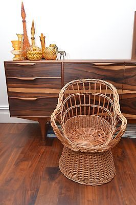 Stunning Mid Century Vintage Childrens Basket Weave Rattan Chair