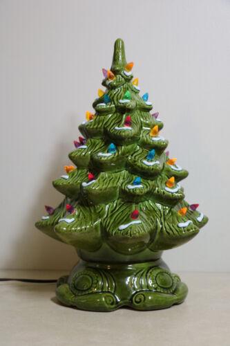 "Ceramic Christmas Tree Vintage Lighted 2 Piece 16"" Snow Flocked Bright Green"
