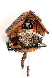 cuckoo clock black forest quartz german music quarz chalet bears new batterie