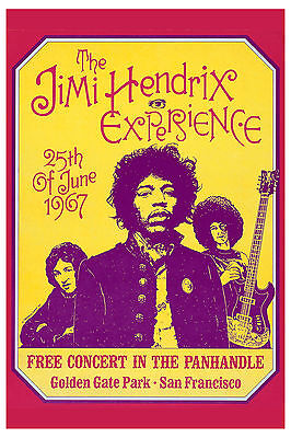 Rock: Jimi Hendrix at San Francisco FREE Concert Poster  1967 4th Printing