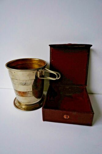 Antique Folding Metal Traveling Collapsible Cup in case Germany