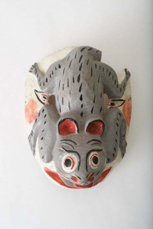 Mexican Vintage Ritual Ceremonial Rabbit Dance  Mask Wall Art Wood