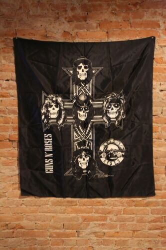 Vintage GUNS N ROSES 1988 concert tour Flag Banner Cross Bones Rock n Roll