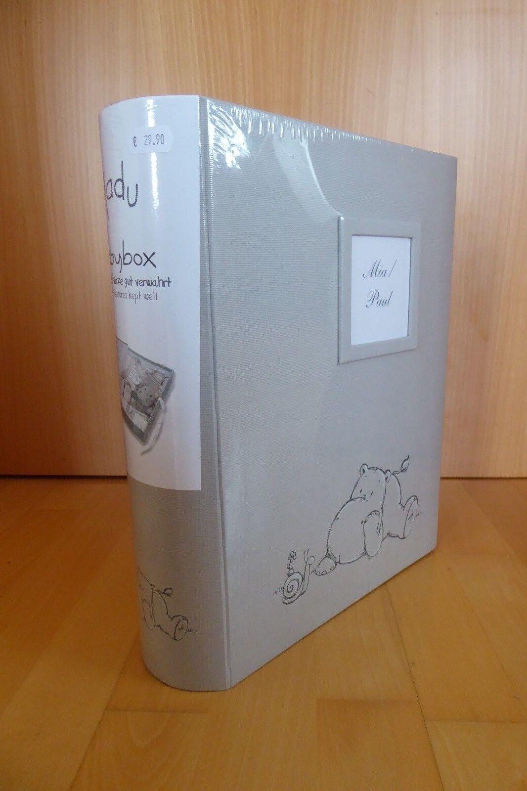Babybox, Aufbewahrung Babyschätze,Walther,Madu, grau mit Nilpferd,FB-134