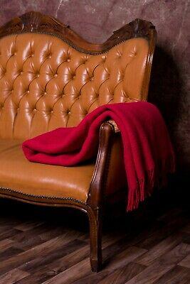 Blanket Throw Bed Sofa Fleece Cozy Solid Soft Warm 100% Wool 130x200cm Red