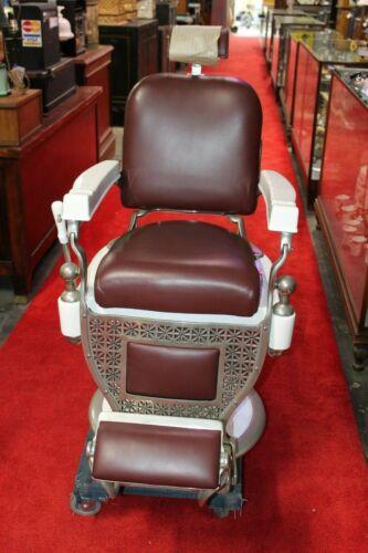 1920s Theo A. Kochs Restored Barber Chair Nickel Plated & Headrest