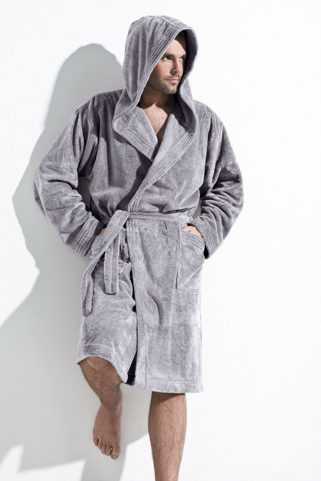 mens luxury knee length dressing gown bathrobe with hood robe size m l xl xxl ebay. Black Bedroom Furniture Sets. Home Design Ideas