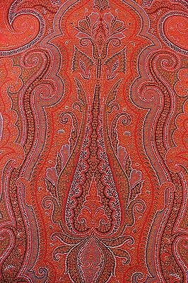 "1/2 Antique 19thC Wool Loomed Paisley Shawl c1870~1yd27""LX61""W"