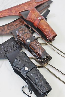 NEW 22 CAL Tooled Holster Gun Belt Drop Loop LEATHER Western RIG SASS 34