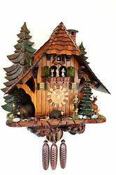cuckoo clock black forest 8 day original german hunter wood music new bears deer