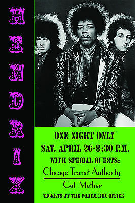 Rock: Jimi Hendrix at Los Angeles Forum Concert Poster 1969  13x19