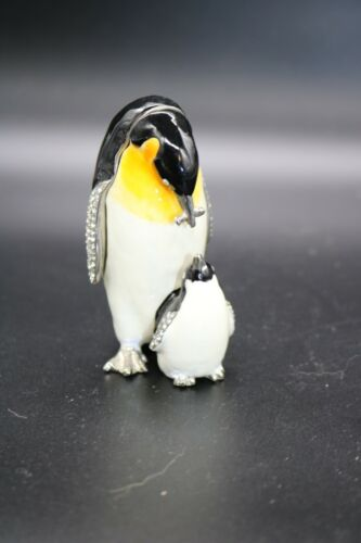 Fancy Penguin with Baby Jeweled with Crystals Enamel Trinket Box  Animal