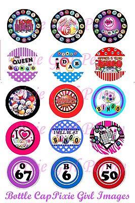 Bingo BINGO QUEEN  I Love Bingo Dab It 15 Precut Bottle cap images  - I Love Bingo